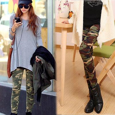 e Stil Stretch Camouflage Leggings Hosen in voller Länge neu (Armee Frauen)