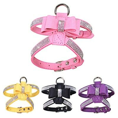 Collar Harness - Dog Harness Strap Lead Bling Rhinestone Pet Necklace Leather Bow Collar Lovely