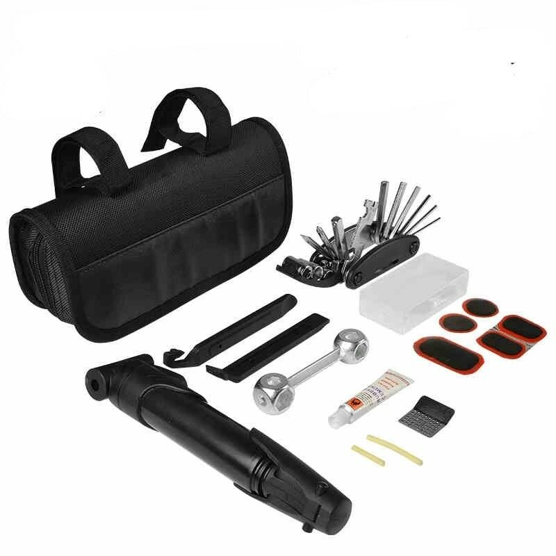 New Bicycle Portable Pump Tyre Bike Repair Kit Tool Bag With Multi-function Tool