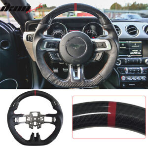 2015 - 17 Mustang Carbon Steering Wheel w/ Leather & Red Ring