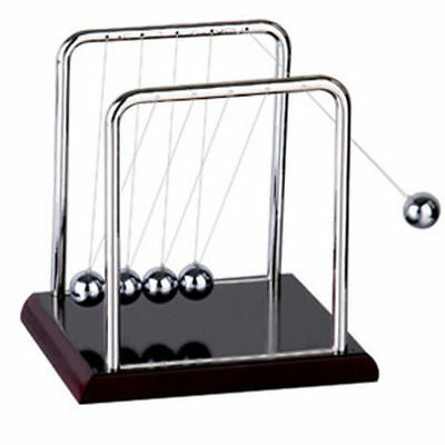 Pop Newtons Cradle Steel Balance Balls Physics Science Pendulum Desk Accessory