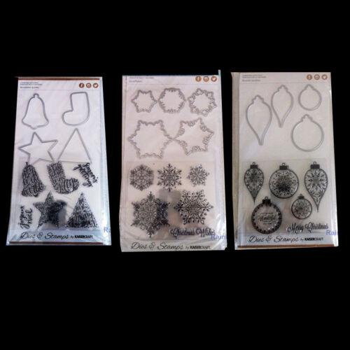 Kaisercraft Christmas Decorative Die & Stamp Christmas Dies Snowflakes Baubles