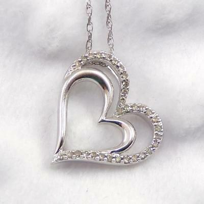 Sterling Silver Diamond Accent Double Heart Love Pendant Necklace 18.5