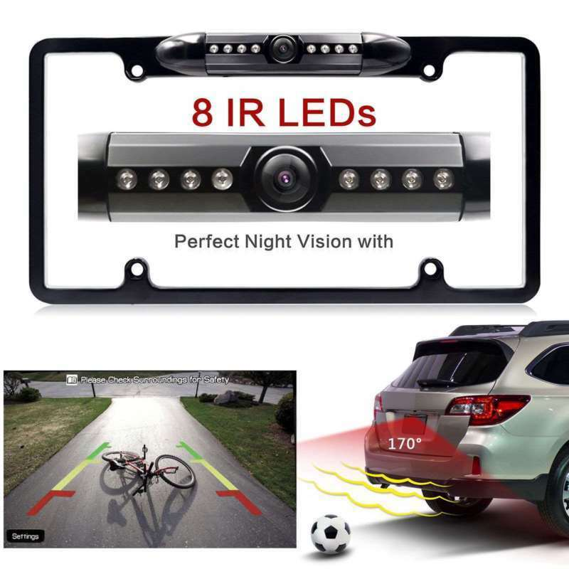 170° HD Car IR Rearview Camera American License Plate Frame 8LED Night Vision
