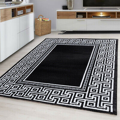 Modern Rug Black Grey White Versace Style Border Pattern Mats Room Hall Carpet