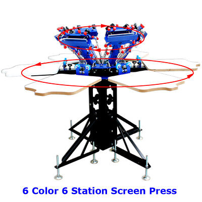 6 Color Adjustable New Screen Printing Press Pallet Screen Both Rotary Printer