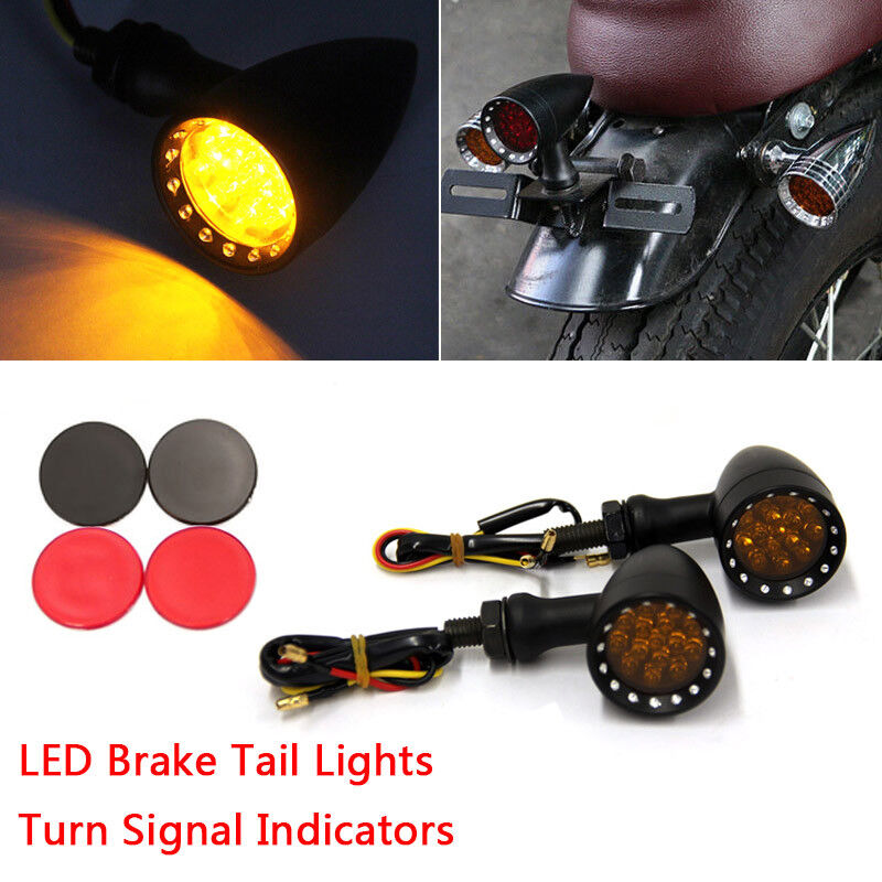 Motorcycle Turn Signals Amber Indicator Light Brake Tail Cafe Racer Cruiser Bike