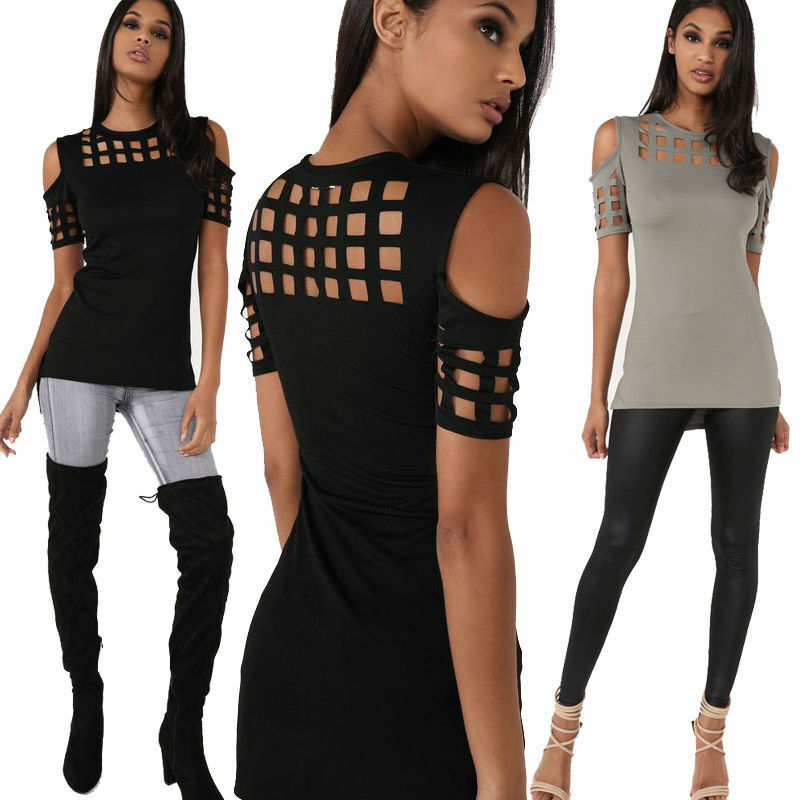 Summer Womens Cold Shoulder Short Sleeve Casual T-shirt Loose Blouse Tops US Clothing, Shoes & Accessories