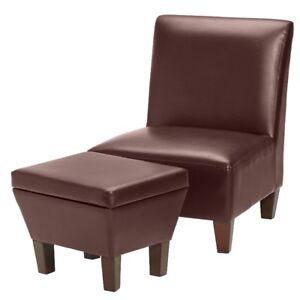Leather-Look Accent Chair with Storage Ottoman, New