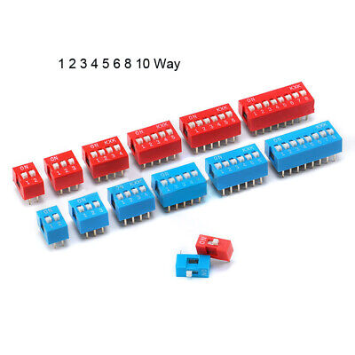 Dip Dil Switch Pcb 1 2 3 4 5 6 8 10 Way 2.54mm Blue Red Toggle Switches 350pcs