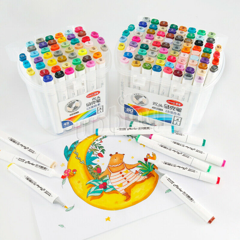 Twin Tip Marker Pens Student's Animation Alcohol Based Marke
