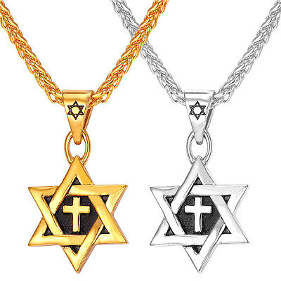 Star of David Pendant Stainless Steel 18K Gold Plated Israel Jewish Necklace Man