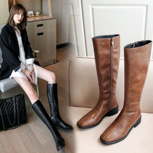 Women/'s Ladies Western Chunky Heel Outwear Pointy Toe Mid Calf Boots Size 35-47