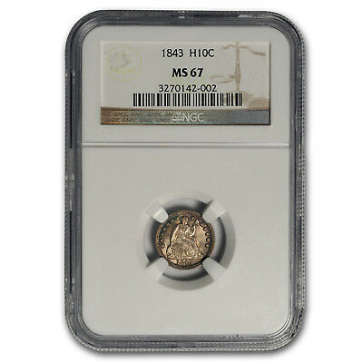 Click now to see the BUY IT NOW Price! 1843 LIBERTY SEATED HALF DIME MS 67 NGC