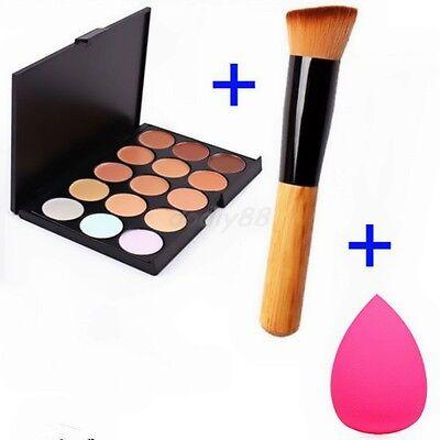 Makeup Contour Face Cream Concealer Palette+Sponge Puff+Powder Brush Mixed SET