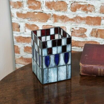 New Tiffany Stained Glass Red & Blue Table Tea Lamp / Vase Candle Art deco