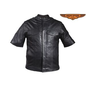 Mens Light Weight Leather Shirt With Short Sleeves