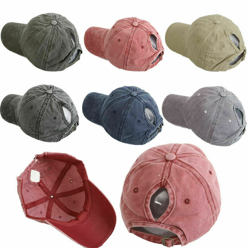 6 PACK Women Ponytail Horsetail Baseball Cap Outdoor Sports Adjustable Vintage Clothing, Shoes & Accessories