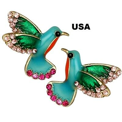 US Seller Betsey Johnson Mini Crystal Bird Stud Earrings Multi-color Jewelry Red