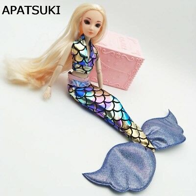- Blue Cosplay Costume Colorful Mermaid Clothes For Barbie Doll Bra Fishtail Skirt