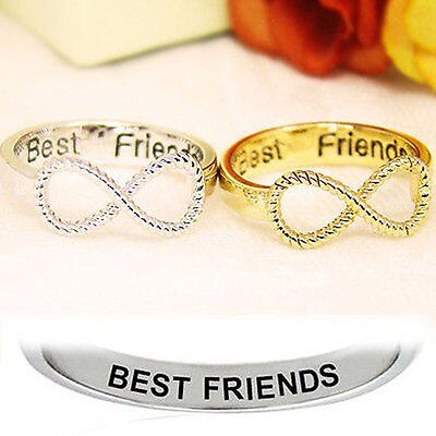2 pcs BFF Letter Best Friend Punk Siver&Gold Infinity 8 Bowknot Friendship