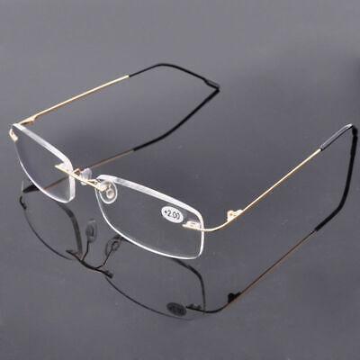Rimless Reading Glasses Titanium Alloy Readers Light Weight +1.0~3.5 Mens (Lightweight Rimless Glasses)