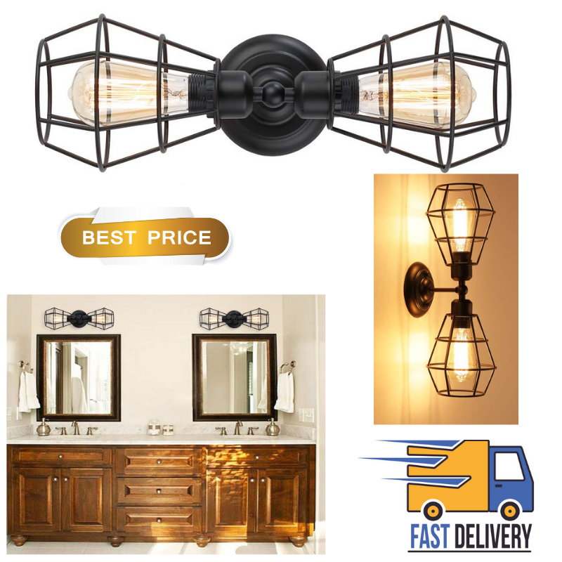 2-Light Industrial Bathroom Vanity Light Metal Wire Cage Wal