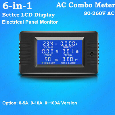 Lcd Ac Combo Meter Current Ammeter Volt Amp Power Kwh Watt Freq Panel Monitor