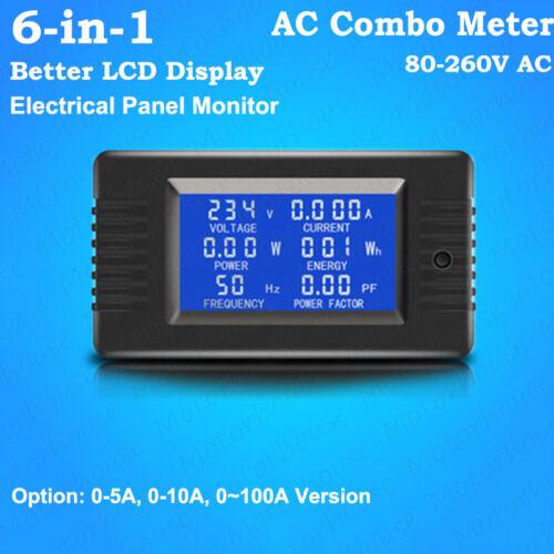 LCD AC Combo Meter Current Ammeter Volt Amp Power Kwh Watt Freq Panel Monitor