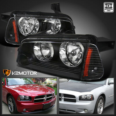 For 2006-2010 Dodge Charger Black Headlights+Signal Corner Lights Lamp Pair