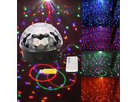 BRAND NEW XMAS CHRISTMAS DJ 6 LEDs RGB Stage Light Party Bar Club Effect Light Uk Plug remote usb