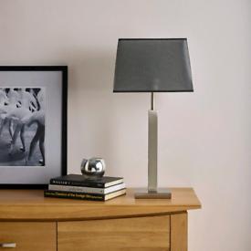 Oak Furnitureland satin nickel finish table lamp, NEW & BOXED