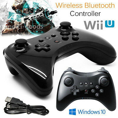 Schwarz Wireless Joystick Gamepad Pro Controller für Nintendo Wii U + USB Kabel@