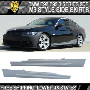 Fits 07-13 BMW E92 E93 3-Series 2Dr M3 Style PP Side Skirts Panels Pair Bodykits