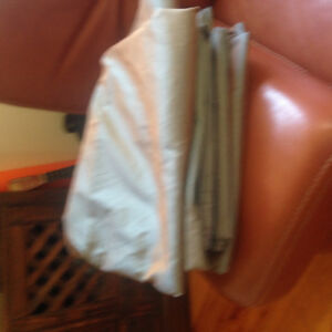 Curtains. Silvery grey with rusty colour. Six panels. $5.99 each