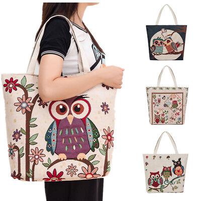 Women Ladies Shoulder Bag Embroidered Owl Tote Handbag Package Top handle Bags - Owl Tote