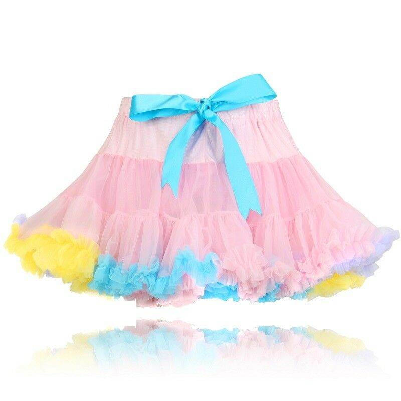 Girls Lilac Pink Trim Quality Soft Fluffy Full Nylon Pettiskirt Tutu Party Skirt