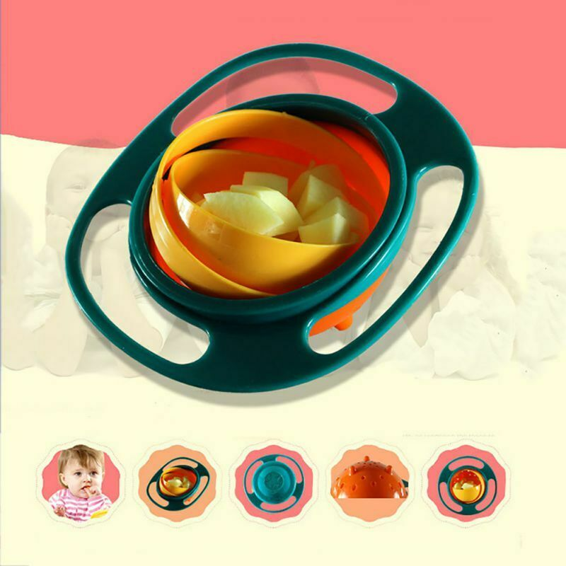 Cute Kids Feeding Dishes Gyro-Bowl Happy Baby 360 Rotate Spill Proof Bowl US