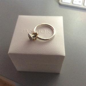 Bague pandora coeur et anneau en or Authentique