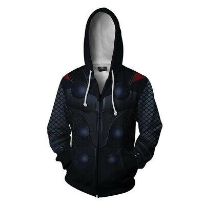 Thor Costume Hoodie (Marvel Avengers Thor 3D Hoodie Cosplay Costume Sweatshirt Coat Jacket Zipper)