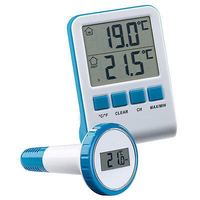 FreeTec Digitales Teich- und Poolthermometer mit LCD-Funk-Empfänger, IPX8