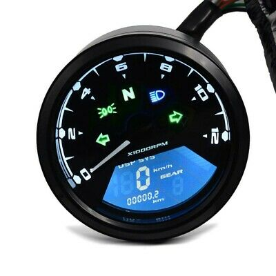 MOTORCYCLE TACHOMETER SPEEDOMETER LCD DIGITAL REV COUNTER ANALOG ZADDO