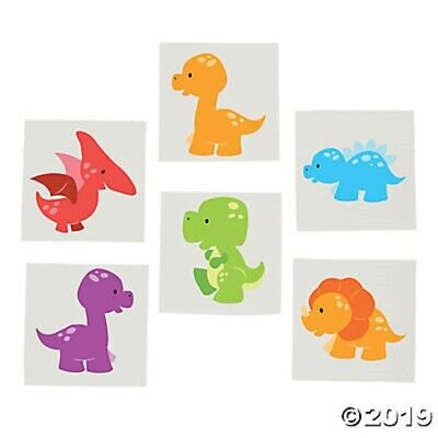 72 Little Dinos Baby Dinosaur Temporary Tattoos Kids Birthday Party Favors  - Little Dino Party Supplies