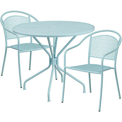 35.25 Round Sky Blue Indoor-outdoor Patio Restaurant Table Set W2 Chairs