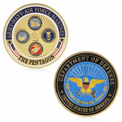Gold Plated Army Navy Air Force Marines Commemorative Coin Collection Physical