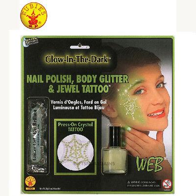 GLOW-IN-DARK GEM WEB TATTOO MAKE UP KIT HALLOWEEN WITCH NAIL POLISH GLITTER GEL - Dark Witch Halloween Makeup