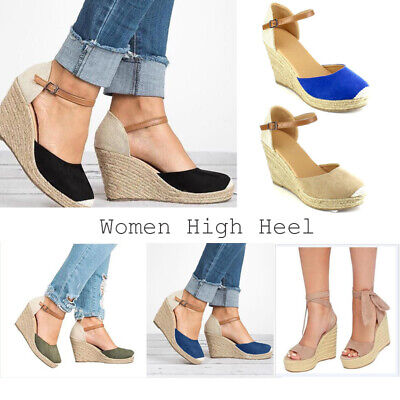 Womens Ladies Low Wedge High Heel Summer Sandals Strappy Espadrilles Shoes Size