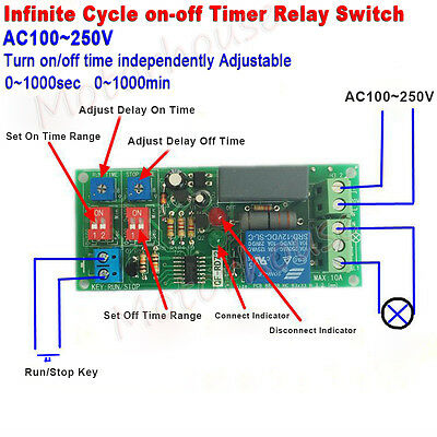 Ac 110v 220v Infinite Cycle Delay Time Timer Relay Repeat On Off Switch Module