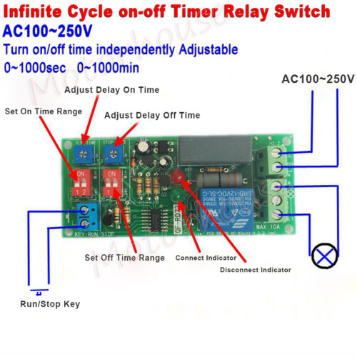 AC110V 120V 220V Timer Infinite Cycle delay Turn ON/OFF Time Relay Switch Module
