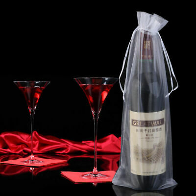10x Sheer Organza Wine Bottle Cover Wrap Gift Bags Wedding Party Holidays - Wine Bottle Gift Bags